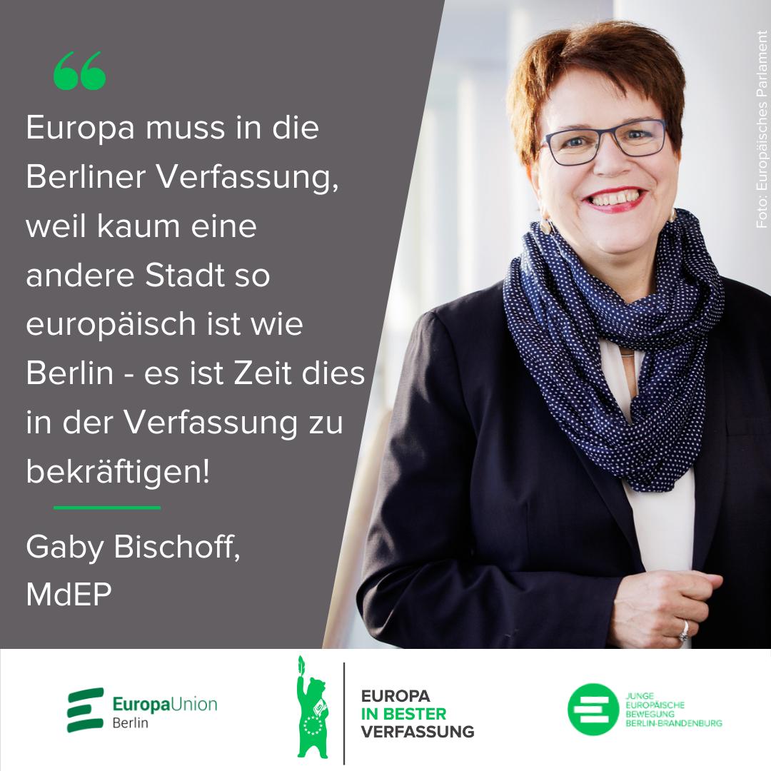 Europa muss in die Berliner Verfassung, weil kaum eine andere Stadt so europäisch ist wie Berlin - es ist Zeit dies in der Verfassung zu bekräftigen! - Gaby Bischoff, MdEP
